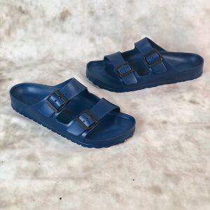 Birkenstock Navy Blue Rubber Slides